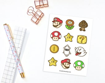 Super Mario sticker sheet - 12 planner stickers, decorative stickers, super mario bros stickers, mario fanart, mario stickers