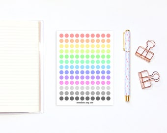 Rainbow dot planner stickers - 130 rainbow and grayscale planner stickers, functional dot stickers, circle stickers, round stickers