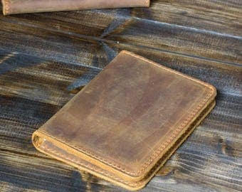 Personalized Leather Passport Wallet, Perfect Corporate Gift, Distressed Leather Travel Wallet, Leather Passport Cover, Cinnamon Brown