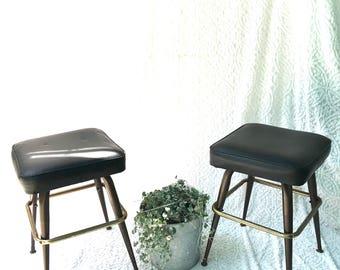 pair of midcentury bar stools low medium black vinyl stools mid century vinyl seating