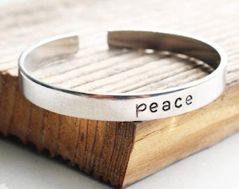 Peace cuff bracelet Hand stamped metal bracelet Custom bracelet Peace hand stamped cuff