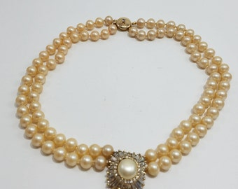 Stunning & Gorgeous Panetta Double Strand Glass Pearl Choker Necklace with Rhinestone Pendant