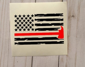 Thin Red Line Flag | Thin Red Line Axe | Firefighter Flag | Firefighter Wife | Firefighter Gift