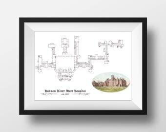 Hudson River State Hospital Blueprint Plan, HRSH Print, 12 x 16 Wall Art, Kirkbride Asylum Artwork, Architectural Decor, Insane Asylum Art