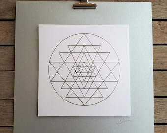 Sacred geometry wall art print on foil, sry yantra art design, yoga studio decor, paper wall art, silver print paper collage, yoga art gift