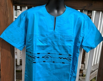 Men's Blue Embroidered Shirt Ghana/West African Size -151/2-16
