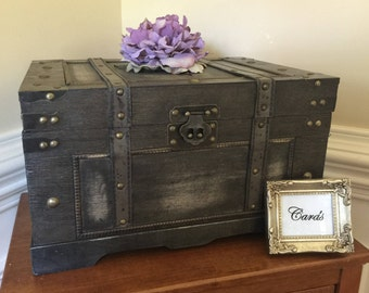 Large rustic wooden wedding card trunk/Antiqued large black wedding card trunk/Wedding decorations/Wedding card trunk/Elegant wedding trunk