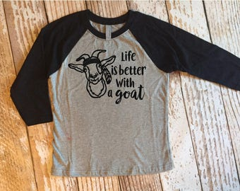 Life is Better with a Goat Kids Black Raglan