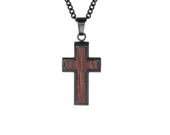 Wood Inlay Stainless Steel Cross (Black, gold, blue plating) with Chain