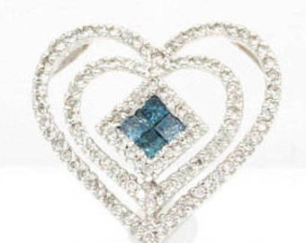 Heart Shaped, Blue and Colorless Diamond 14K White Gold Pendant (1184)