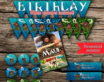 Maui Birthday Party Pack Bundle Disney Moana Vaiana Birthday Boy Decor Kit Instant Download Printable Customized Personalized DIY