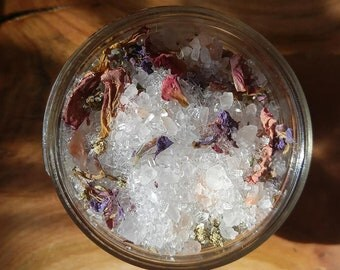 Wildflower Soaking Salts - Pure Pink Himalayan Sea Salts & Epsom Salts with Rose, Red Clover, Yarrow + Fireweed