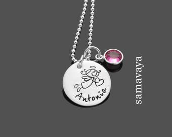 Baptism chain BLESSINGS Messenger 925 Silver name necklace with guardian angels and birthstone for baptism