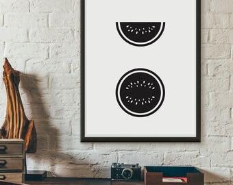 Watermelons, printable, wall art, digital prints, black and white poster, scandinavian print