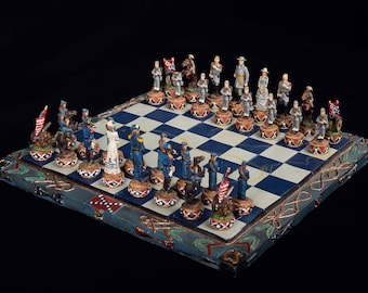 Chess Set Civil War  Full Size Hand Painted Hand Crafted High Quality Perfect Condition