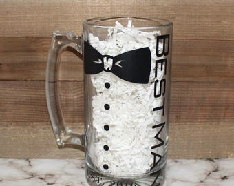Groomsmen Gift, Personalized Mug, Bowtie mug, Grooms gift, Groomsmen personalized mug, Beer mug , Wedding gift , Best man gift