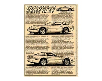1995 ZR1 Corvette Production Car Art Print, C4 Corvette, Americas Sports Car,1995 ZR1 Corvette,95 Corvette,95 Corvette Art