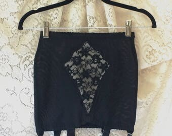 Vintage 1960's Black Satin & Lace Girdle by Warner's