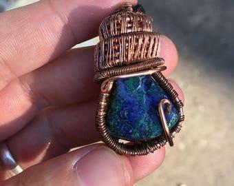 Malachite Azurite Wrapped in Copper Wire