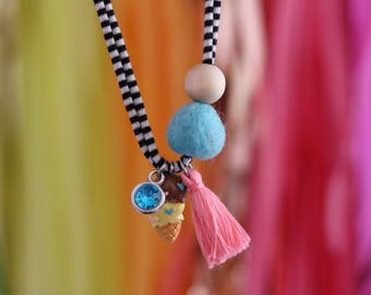 Double Scoop - Children's Felt Ball Ice Cream Tassel Necklace