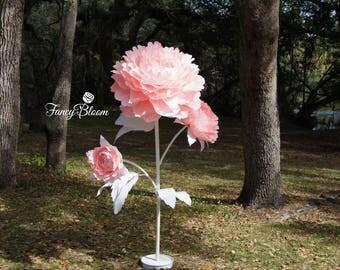Free Standing TRIPLE Peony Flower/ Self Standing Giant Flower/ Giant Paper Flower on Stem/ Giant Flower Backdrop/ Wedding Flower Backdrop