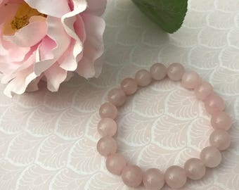 Genuine Rose Quartz Bracelet - 6.5 Inch