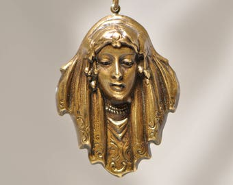Art-Nouveau Native American Lady Woman Portrait Pendant Antiqued Brass Made in USA