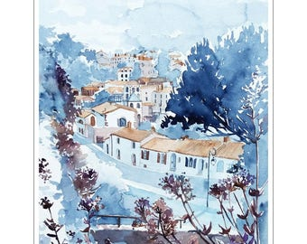 Watercolor Clisson, painting of Clisson, italian architecture village, landscape watercolor, painting blue city, urban landscape, panorama