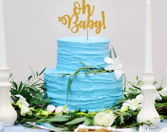 Glitter Oh Baby! Cake Topper Calligraphy Cursive Script Baby Shower Cake  Topper Glitter Baby Shower