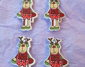 4 Wooden Reindeer Buttons - for Crafts - White backs - 4 x Wooden Reindeer Buttons