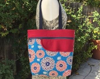 Retro Floral Tote Bag – Handmade Japanese Fabric Market Shopping Overnight Travel Carryall Purse Handbag Shoulder Bag Book Bag Zipper Tote