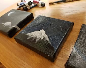 Night sky and mountain acrylic painting