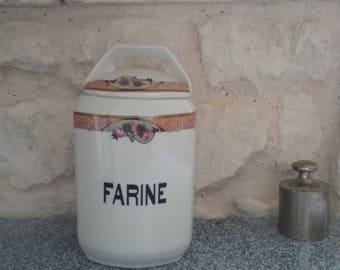 Old ceramic Spice jar - kitchen canisters: flour jar - Vintage France