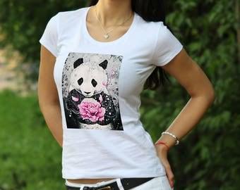Panda Rose Tshirt Gift Panda T-shirt Designer Panda shirt gift for Women Panda t-shirt Panda shirt Panda tank top Women's T-shirt Cute