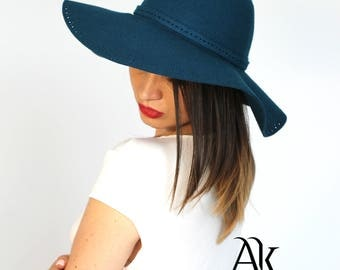 Floppy Hat, Wool Hat, Fedoras Hat,  Pacific Blue Color Hat, 100 % Wool Hat, Pacific Blue Hat, Fashion Hat AnnaKarinnaDesign