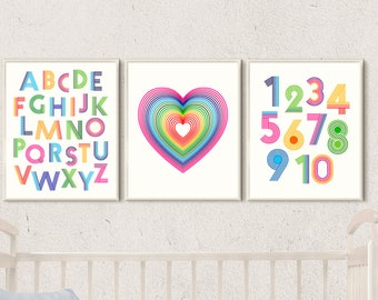 nursery wall art rainbow nursery print set alphabet nursery print numbers poster baby room wall decor kids room art print rainbow baby gift