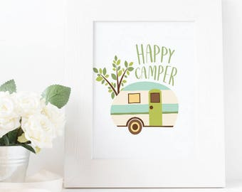 Happy Camper Digital Wall Art Print - Instant Download - Printable - RV Camping Camper Van Vintage Vector Simple Decor