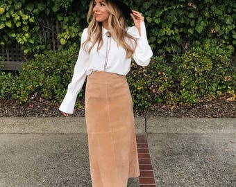 Suede Leather High Waisted Vintage Skirt