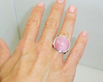 Natural  Pink Opal  Silver  Ring