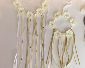 Floral cream and gold dream catcher