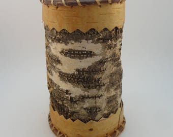 Vintage Handmade Birch Bark tube, container, rustic