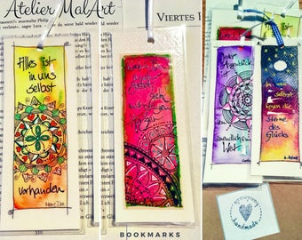 Bookmark watercolour, set of 4, laminated bookmarks, gift for him, paper, and including paper sleeve