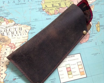 Leather Glasses Case Leather Reading Glasses Case Spectacles Case Sunglasses Case 3rd Anniversary Gift for Dad Glasses Pouch Customized Gift