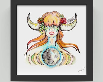 TAURUS ZODIAC PRINT. Earth Sign. The Bull. Horns. Goddess. Meditate. Wall Art.  House Warming. Astrology. Ink and Watercolor. Original Art