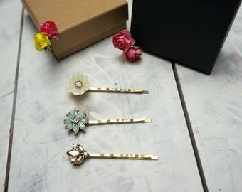 3 pcs Floral hair pins/ Flower hair bobby pins/ Crystal pins/  hair pins/ hair barrette celestial hair accessory