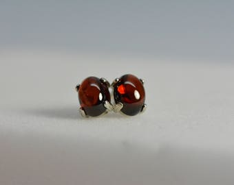 Garnet earrings | Red Garnet, Sterling Silver,Cabochon,Garnet earrings sterling, Garnet Jewelry,Silver earrings,january birthstone,valentine