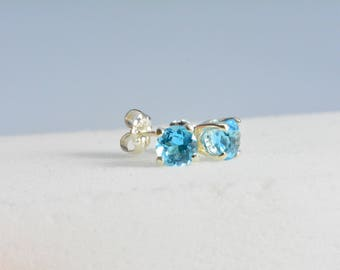 Swiss Blue Topaz earrings - sterling silver, 6mm round, AAA, Sterling silver, stud earrings, Gemstone earrings, November birthstone