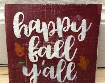 Fall decor | Happy fall y'all | fall sign | mini sign