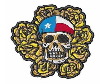 Yellow Rose Texas Skull - Machine Embroidery Design