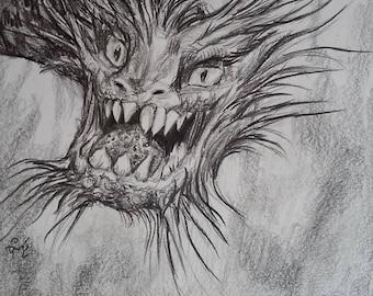 Dragon Creature Toothy Original 6x6 Realistic Fantasy Pencil Artwork by Cori Whitlock